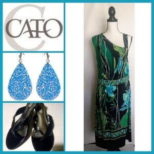 Catos Sleeveless Low Waist Mini Tropical Fress